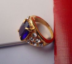 2012 new fashion jewelry Gold plated cubic zirconia ring purple stone