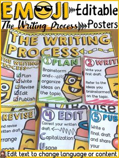 These emoji-themed writing process posters will not only inform and motivate your students as they write, but will also help you keep track of their stage in the writing process. Best of all, these posters are editable so you will be able to change all written content. Type in change to spellings or even language. https://www.teacherspayteachers.com/Product/EMOJI-THEMED-EDITABLE-THE-WRITING-PROCESS-CLASS-DECOR-3775249