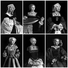 Wax figures of the Six Wives of Henry VIII as photographed by Hiroshi Sugimoto.