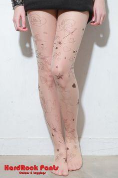 Meia Calça Tattoo Romântica #meia #meiacalça #transparente #tattoo #tatuagem #romantica #estampada #cupido #unicornio #hardrockpants