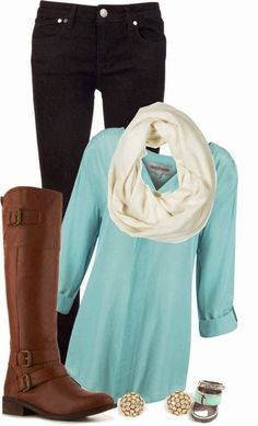 Comfy fall outfits with mint shirt and long boots by beet.sand
