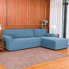 Ebern Designs L-Shaped Right 2 Piece Box Cushion Sofa Slipcover Set & Reviews | Wayfair Sectional Couch Cover, Couch Covers, Cushions On Sofa, Funda Sofa Chaise Longue, L Shaped Couch, Box Cushion, Home Decor Shops, Fabric Sofa, Slipcovers
