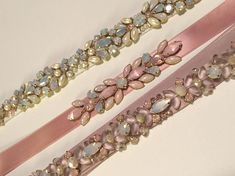 Delicate Rose Blush and Pink Opal Crystal Embellished Skinny Satin Ribbon Bridesmaids Sash, Bridal Belt Accessory Bead Embroidery Tutorial, Bead Embroidery Patterns, Couture Embroidery, Embroidery Fashion, Beaded Embroidery, Girls Accessories, Bridal Accessories, Bridesmaid Belt, Bead Sewing