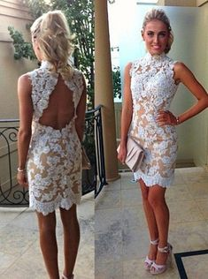 d3fd9bdc7c Buy Simple-dress 2015 Sexy Column High Neck Sleeveless Mini Lace Appliques Homecoming  Dress  · Backless Prom DressesShort ...