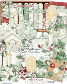 A beautiful digital kit for your Christmas cards or memorable scrapbooking layouts.  This peaceful and serene kit captures the warmth of family, the beauty of the world around us and the thankfulness that we all share at this time of the year. All is Calm Collection from Nitwit Collections #digitalscrapbooking