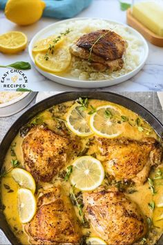 Creamy Lemon Butter Chicken This easy, delicious chicken thigh recipe is cooked in one pot for an easy weeknight dinner. Chicken thighs are cooked in a flavorful lemon and garlic cream sauce, this chicken dish will be a hit with the whole family! Lemon Butter Chicken, Lemon And Garlic Chicken, Chicken In Cream Sauce, Lemon Chicken Thighs, Garlic Parmesan Shrimp, Lemon Garlic Butter Sauce, Cuban Chicken, Lemon Chicken Pasta, Greek Lemon Chicken
