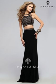 Faviana Jersey two-pice with beaded bust and lace up back - Prom Dresses