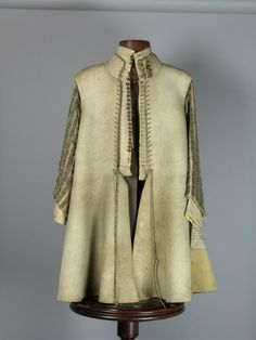Buff-coat and doublet (c.1640).  leather; silk, gold and silver thread.  Chest measures 86cms (34 inches).  Owned by Sir Jacob Astley, 1st Baron Astley of Reading, a prominent Royalist Commander in the English civil wars (1642-1651). National Trust's collection, Seaton Delaval Hall, Northumberland.