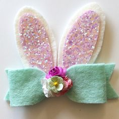 Bunny Ears hair clip or headband/Easter/Spring/teaandtoasx/tea and toast by teaandtoastx on Etsy https://www.etsy.com/listing/225245901/bunny-ears-hair-clip-or