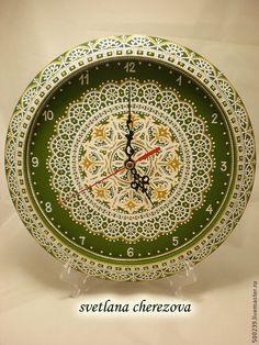 """Купить Часы """"Оливковая нежность"""" - оливковый, часы, часы настенные, часы интерьерные, часы для дома"""