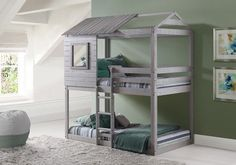 Reinvent your son or daughter's room with our stylish and fun playhouse bunk beds in a stylish light grey finish. This loft bed is as sturdy as it is charming with quality all wood construction and fu