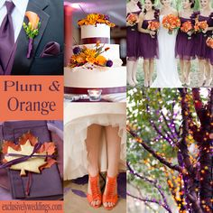 What a beautiful color scheme for a Fall wedding!  I would never have thought to put these colors together, yet it's strikingly gorgeous!  Plum and Orange Wedding Colors | #exclusivelyweddings