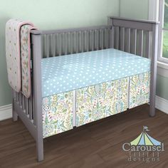 Custom baby bedding in Mist and White Polka Dot, Love Birds, Pink and Lime Puffs, Solid Bubblegum Pink, Love Bird Damask. Created using the Nursery Designer® by Carousel Designs where you mix and match from hundreds of fabrics to create your own unique crib bedding. #carouseldesigns