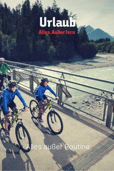 """Alles außer Routine. Alles. Außer fern. . Der beliebte Lechradweg, der übrigens auch für ungeübte Fahrer leicht zu schaffen ist, führt dich 52 Kilometer durch die imposante Landschaft des Lechtales, eines der naturbelassensten Täler Europas. Der Lech - """"Der letzte Wilde"""" ist dabei ständig an deiner Seite. Wilde, Routine, Bicycle, Europe, Day Trips, River, The Last Song, Bicycling, Alps"""