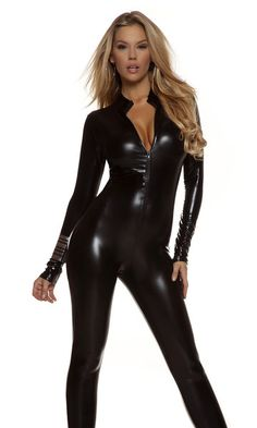 Metallic Mock Neck Zipfront Catsuit by Forplay--Forplay inc. - Aguicheuse - 1