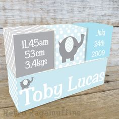 NURSERY DECOR Personalised Wooden Name Birth Blocks Custom Chevron Elephant