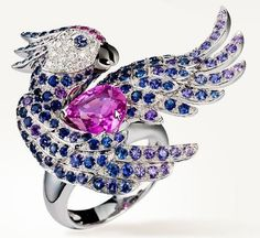 Boucheron-animal-web-Apr.2013,Nuri Ring,Ring set with pink, blue and violet sapphires, and diamonds