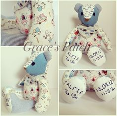Keepsake Ted the Bear made using baby's first clothes and weighted to his birthweight. He is finished off with hand embroidered birth details on the feet.