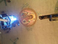 """""""Intact icon of St. Michael on our burnt ceiling of St. The fire just bypassed him"""" St Michael, Ceiling, Fire, Twitter, San Miguel, Ceilings, Saint Michael, Trey Ceiling, Archangel Michael"""