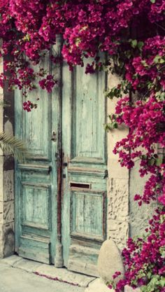 Bougainvillea and beautiful old doors Cool Doors, The Doors, Unique Doors, Windows And Doors, Front Doors, Entry Doors, Panel Doors, Sliding Doors, Entryway