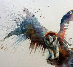 Barn owl in flight watercolour by ~sarahstokes