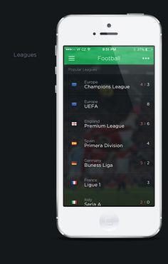 Livesport app concept by Pierre Borodin, via Behance