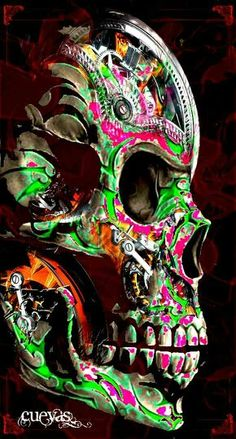 Steampunk color splash skull