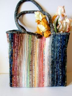 Large Tote Bag Fabric Covered Clothesline by ArtsySewin on Etsy, $69.00