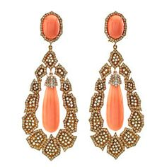 Rose Gold Earrings with Coral and Diamonds