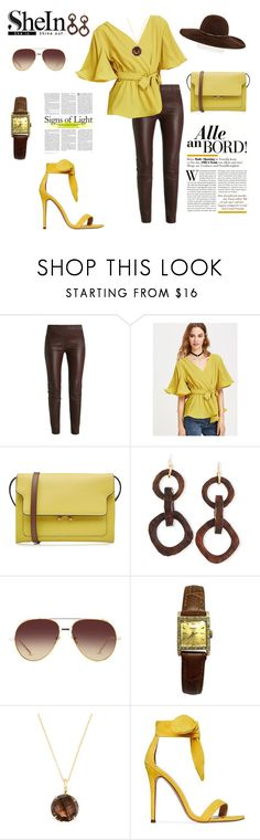 """""""BROWN AND YELLOW"""" by agnesmakoni ❤ liked on Polyvore featuring Marni, NEST Jewelry, Linda Farrow, Rolex, Carelle and Eugenia Kim"""