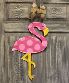 Pink Polka Dot Flamingo Door Hanger