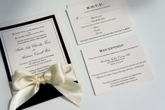 "Elegant Traditional Gold Ivory & Champagne Classic Ribbon and Bow Wedding Invitations ""Black Tie Affair"" -- SAMPLE"