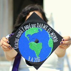 Thanks mom and dad for giving me the world. Graduation cap #graduationcap #collegegrad #BA