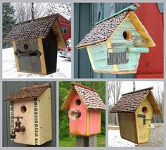 Mini Birdhouse with a roof made of yardsticks! Description from pinterest.com. I searched for this on bing.com/images