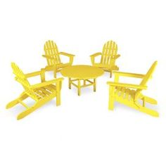Classic Folding  5 Piece Adirondack Seating Group