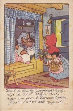 """Freddie Langeler postcard ....""""Little Red Riding Hood"""" illustration."""