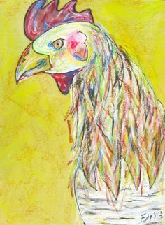 """""""Cockerel"""" Acrylic and oil pastel on woodburned panel.  $110"""
