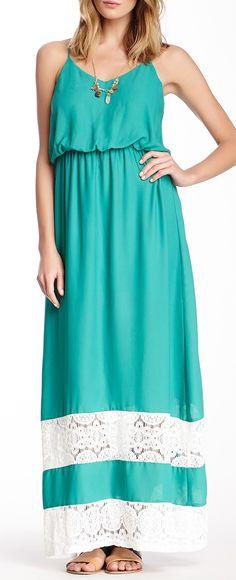 Sleeveless Lace Panel Maxi Dress