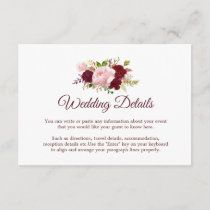 Burgundy Marsala Floral Wedding Invitation Card | Zazzle.com Floral Wedding Invitations, Wedding Invitation Cards, Marsala, White Envelopes, Rsvp, Burgundy, Place Card Holders, Wedding Invitations, Wine Red Hair