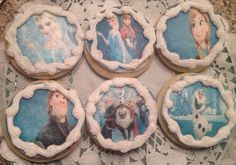 Frozen Frosted Sugar Cookies   1 dozen Frozen cookie set! 2 each of the 6 cookies shown. Anna, Elsa, Christoph, Sven  Olaf and the whole Frozen Movie Crew! Great for the next birthday party, sleepover or for the child that just can't get enough.