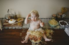 First Birthday photo shoot. SAY NO TO SMASH CAKES! Go for a favorite food instead. Spaghetti. Babies. One year.