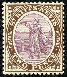 """St. Kitts-Nevis  1905 Scott 15a 2p brown & violet  """"Columbus Looking for Land"""""""