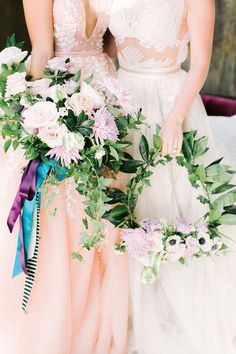 We've rounded up 20 gorgeous hoop bouquets for brides and bridesmaids that will have you rethinking the traditional bridal bouquet. Floral Wedding, Wedding Bouquets, Wedding Dresses, Green Wedding, Wedding Shoes, Brides And Bridesmaids, Bridesmaid Dresses, Alternative Bouquet, Beautiful Flower Arrangements