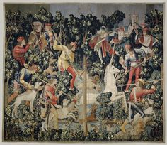 The Unicorn is Attacked, 1495–1505. South Netherlandish. The Metropolitan Museum of Art, New York. Gift of John D. Rockefeller Jr. 1937 (37.80.3) | In this hanging, the unicorn, pursued by men and dogs, crosses a rivulet deep in the forest. As it prepares to step out onto the bank, more hunters armed with spears take aim as the rest of the company approaches. #dogs