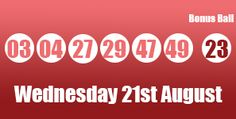 The UK Lotto results for tonights draw, Wednesday 21st August 2013. This week saw three winners take away the jackpot prize. http://lotterypod.com/lotto-results-21st-august/