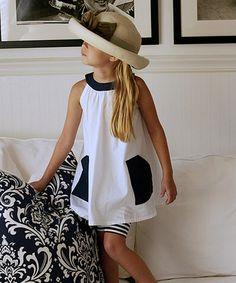 Look what I found on #zulily! White & Navy Angelina Dress - Toddler & Girls #zulilyfinds