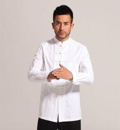 White Men Cotton Linen Long sleeve Kung Fu Shirt Classic Chinese Style Tang Clothing Size S M L XL XXL XXXL hombre Camisa Mim903