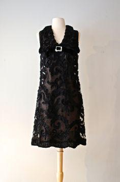 Vintage 1960s Miss Elliette Dress ~ Vintage 60s Illusion Lace Cocktail Dress ~ 1960s Lace Party Dress by xtabayvintage on Etsy
