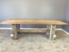 reclaimed urban wood dining tablewooden leg baseall reclaimed woodraw finish
