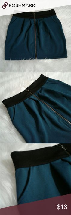 Forever 21 Zip Up Mini Skirt Teal and black zip up mini skirt by Forever 21 Small Forever 21 Skirts Mini
